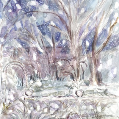 Snow Falling in London Garden at Dusk - watercolour 75 x 55 cm £500