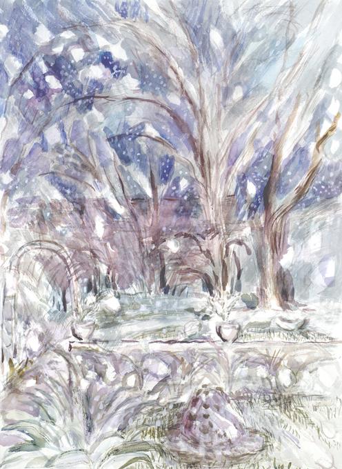 Snow falling London garden