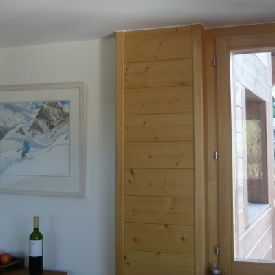 Displayed in ski chalet, White stained wood frame with white mount edged in pale blue for watercolour
