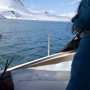 Painting on boat Artic Light - Trygghamna Fjord in Svalbard