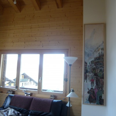 Displayed in ski chalet, Framed oil on hardboard, limed oak for strength against warping as tall artwork