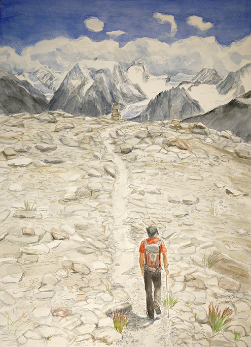 mt Collon alpine painting alps Arolla switzerland