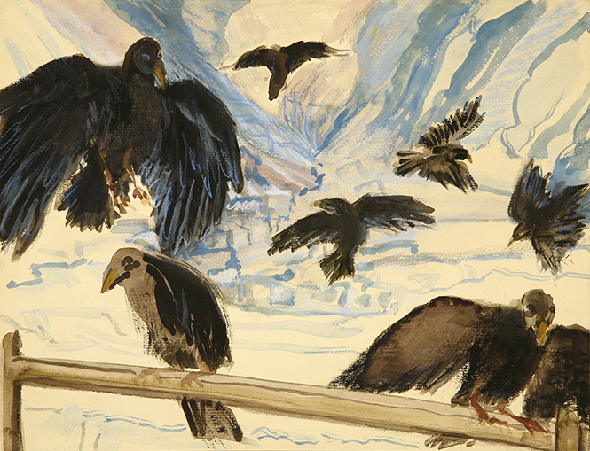 alpine choughs ski skiing painting Alps