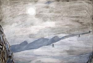alps weak winter sun skiing painting ski