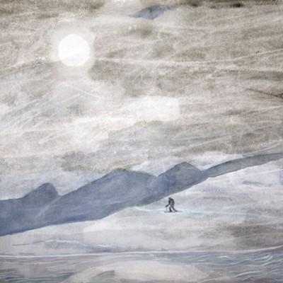 Watery Weak Winter Sun, Climbing on Skins, France - watercolour 38 x 55 cm £375