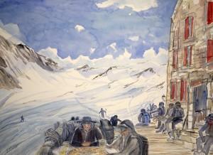 Dix Hut Arolla skiing painting ski Alps