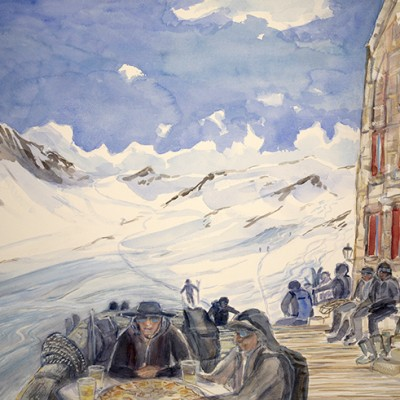 Rosti on the Deck of Dix Hut near Arolla on the Summer Haute Route - watercolour 55x 75 cm £600 / on display At the Grand Hotel & Kurhaus in Arolla Switzerland SOLD