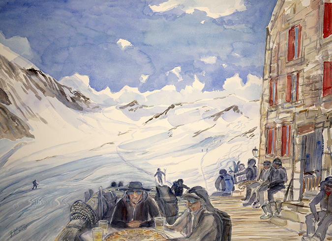 Dix Hut Arolla skiing painting ski Alps