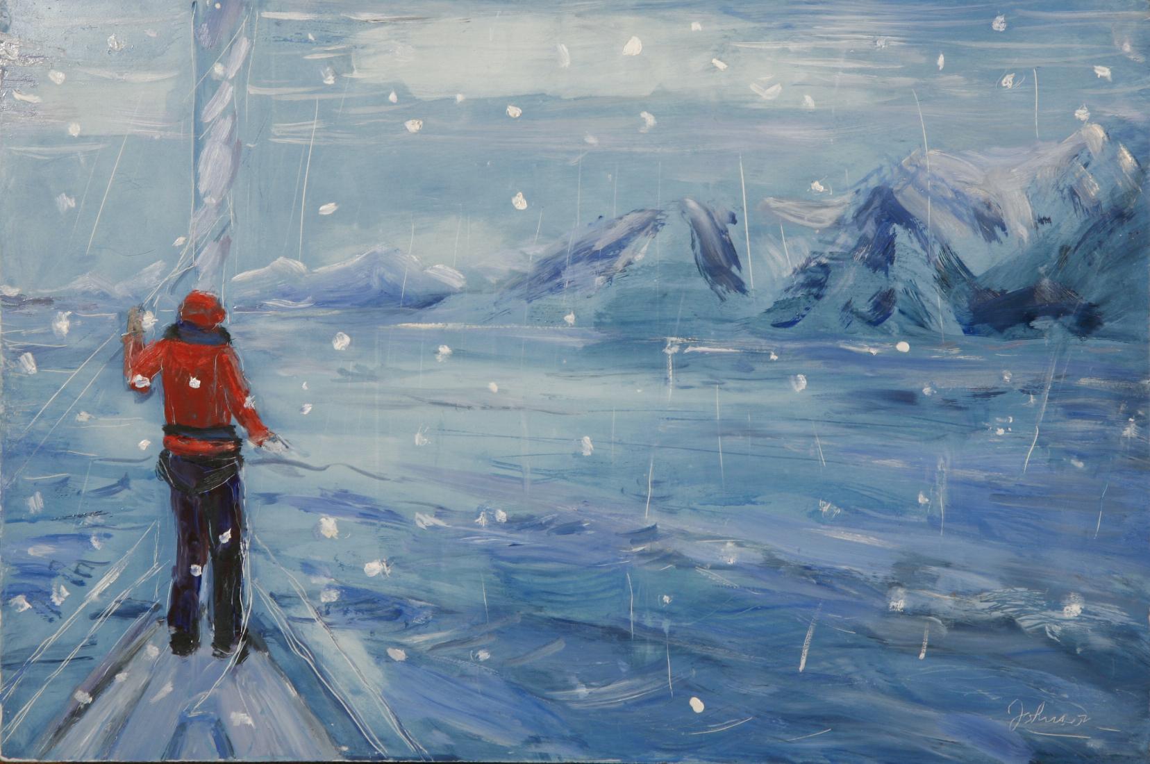 artic ice snow falling lyngen fjord