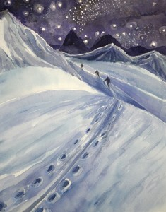 skiing alpine painting ski Alps col under stars haute route