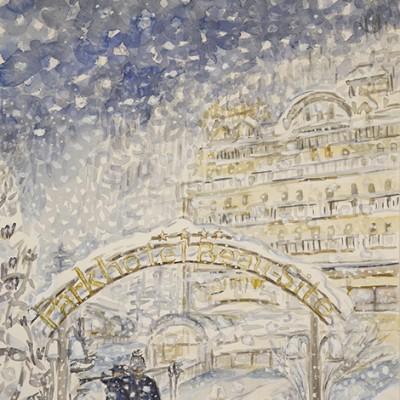 Snowy Evening near Parkhotel BeauSite Zermatt Switzerland - watercolour 47 x 31 cm  £400