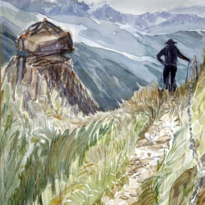 bec d aigle trient switzerland ski skiing painting Alps
