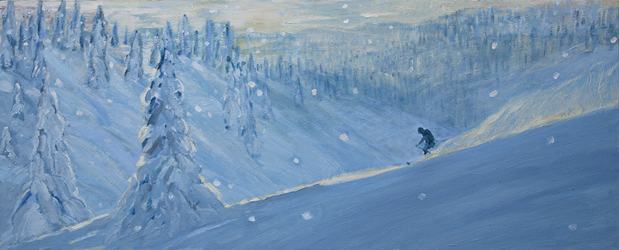 Powder Descent through Trees in Monashees British Columbia Canada - oil on hardboard/ unframed 56 x 137 cm £1800