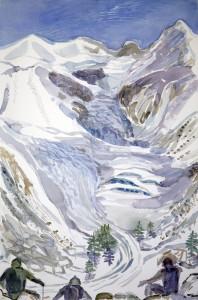 ski skiing painting Alps bellavista and morteratsch glacier piz bernina