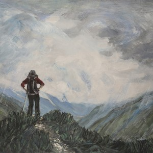 Summer Shower at La Tour, with View to Mont Blanc - oil on hardboard 54 x71 cm £1100