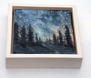 oil pines milky way stars painting USA
