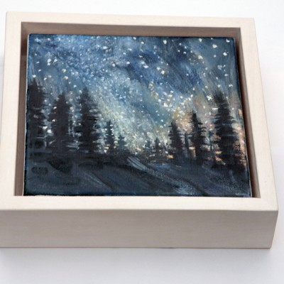 White stained obeche wood stained frame for deep sided canvas artwork