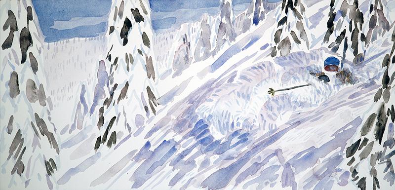 ski skiing painting The Burn Monashees canada powder
