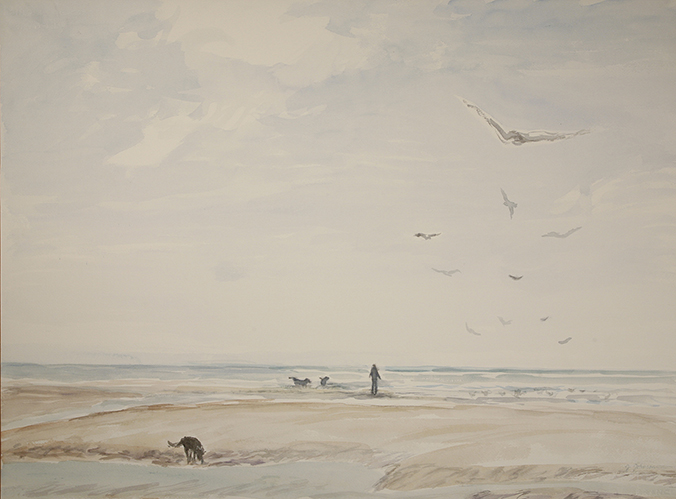 dogs surf camber sands painting