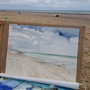 Watercolour painting on beach in Camber Sands summer 2017