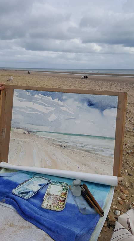 camber sands watercolour painting