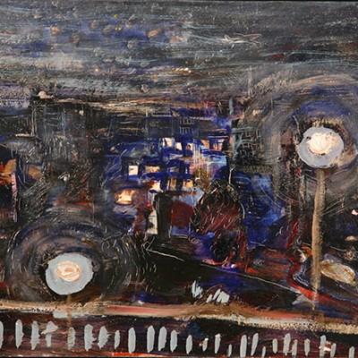 Canary Wharf from Train - oil on hardboard 24 x39 cm framed £325