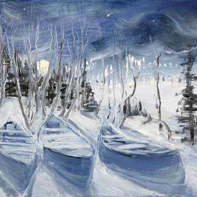 Moon Rising over Canoes near Rjukan Norway - oil on canvas 26 x 30 cm £325