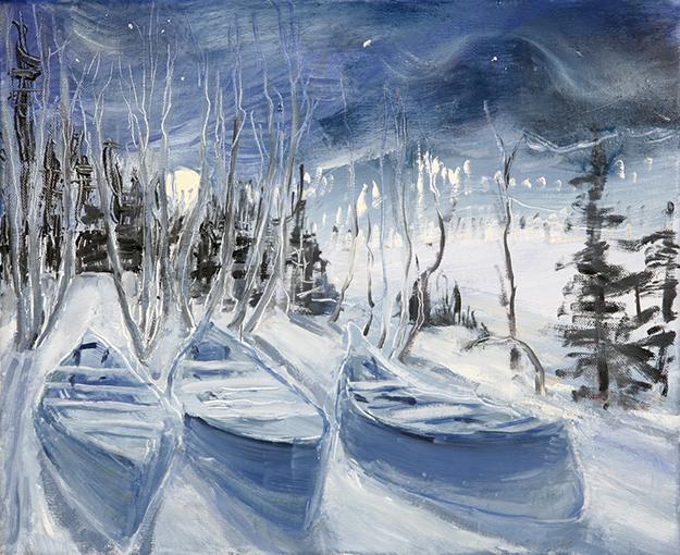 Rjukan moon and canoe norway snow
