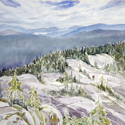 Reaching Summit of Caribou Mountain, Rocky Ledges  Lake Kezar in Distance,  Caribou-Speckled Mountain Wilderness White Mountains, New Hampshire - watercolour 53 x 53 cm  £500