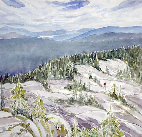 watercolour watercolor painting USA caribou mountains white mts New Hampshire