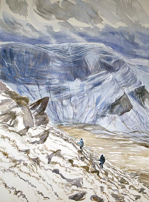 14 fourteen peak challenge mountain painting carnedd dafydd yr elen snowdonia