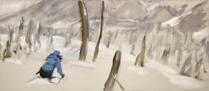 ski painting cat skiing the burn monashees