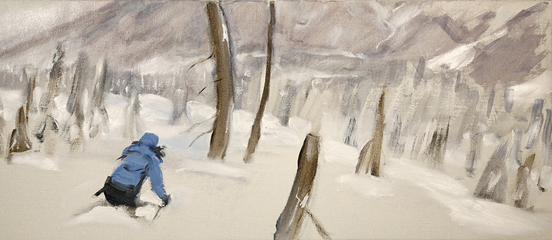Skiing the Burn with K3 Cat Skiing in the Monashee Mountains - oil on canvas /unframed 31 x 71 cm £600