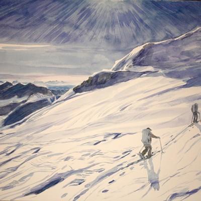 cevedale casati hut Italy Alps skiing painting ski