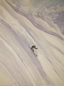 ski skiing painting monashee powder canada