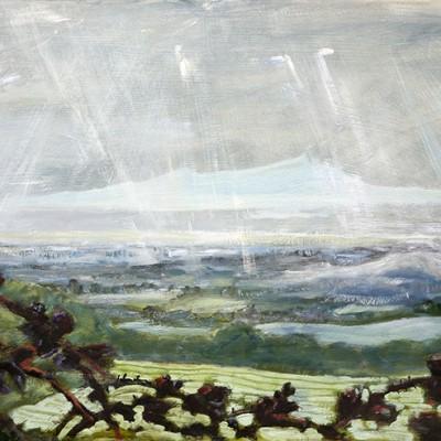 shower christian malfrod malvern hills rain oil painting united kingdom