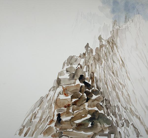 14 fourteen peak challenge crib goch in mist snowdon snowdon mountain painting scrambling