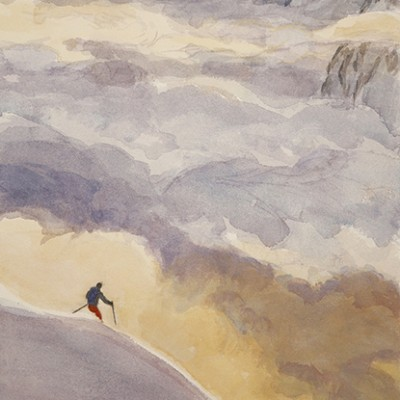 Skier Descending the Slope, Last run of the Day  Austria 49 x 29 cm £475