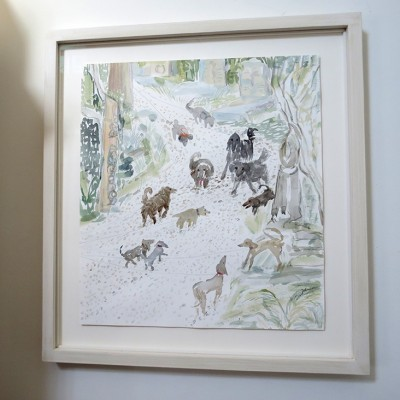 SOLD White stained frame with  floating drawing of Dog Encounters