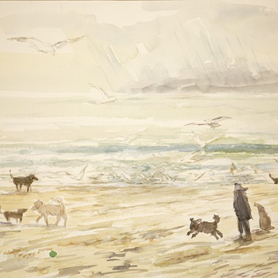 Chasing the Green Ball  Winter in Camber Sands Kent  -watercolour on paper 38 x 55 cm £300 unframed