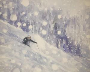 ski skiing painting snowfall canada monashees