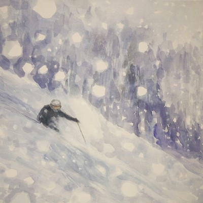 Snowfall, a Dream of Skiing Powder in the Monashee Mountains, Canada - watercolour 44 x 54 cm SOLD