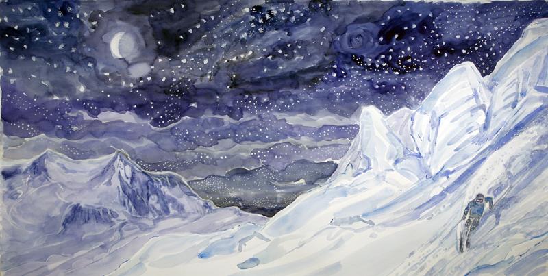 stars schwarztor monte rosa powder ski skiing painting Alps Switzerland