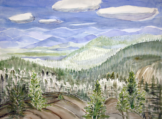 watercolor watercolour painting USA east royce trail new hampshire