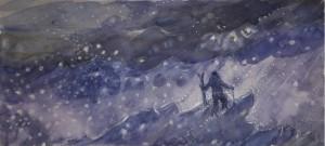 watercolor watercolour painting USA skier facing storm adversity