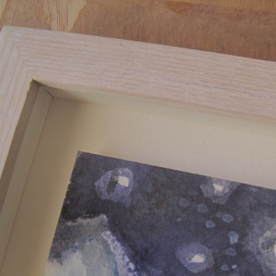 Float watercolour in box frame, oak with white liming