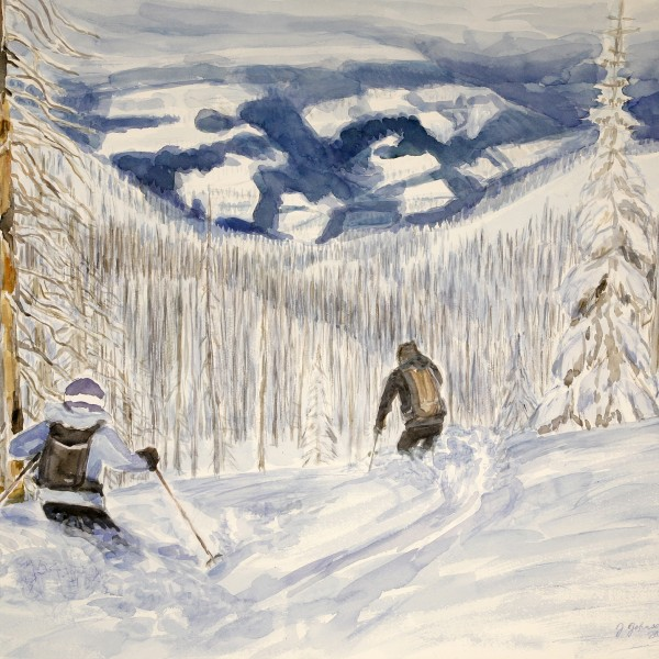 Fran and Stu skiing powder through the burnt trees in the Monashee Mountains of Canada