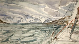 haukoysundet artic ice troms skiing painting ski Norway