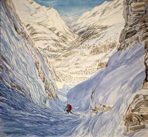 ski skiing painting Alps Switzerland gerwetsch couloir zermatt