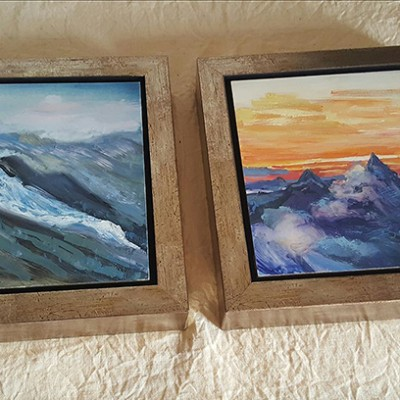 Two small oils - 15 x 15 cm  £220 framed